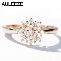 AULEEZE Romantic Flower 0.30CT Natural Diamond Ring 18k Rose Gold Real Diamond Engagement Wedding Ring