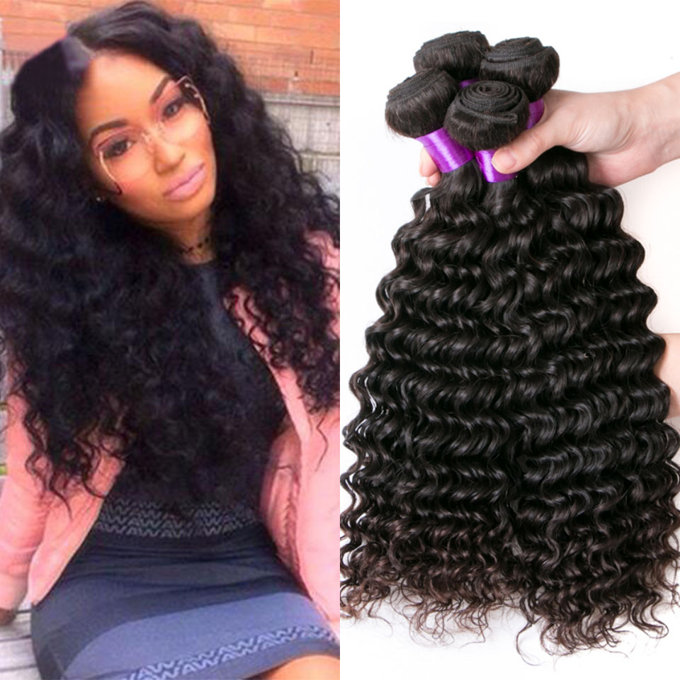 8A Indian Deep Wave 3 Bundles Deep Curly Indian Virgin