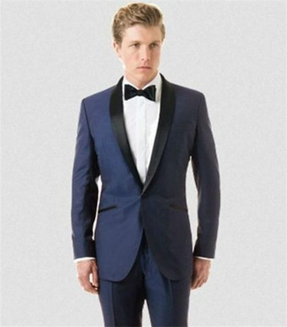 2017 Latest Tailored Groom Tuxedos Satin Black Shawl Lapel Wedding Suits For Mens 3 Pieces