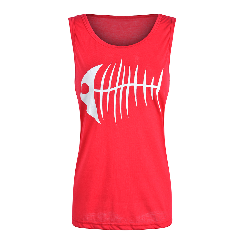Women Tank Top Casual Fish Bone Print O Neck Loose Vest Female Sleeveless Camisole Fashion 2019 Summer Tops Tee 3XL D20 in Tank Tops from Women 39 s Clothing