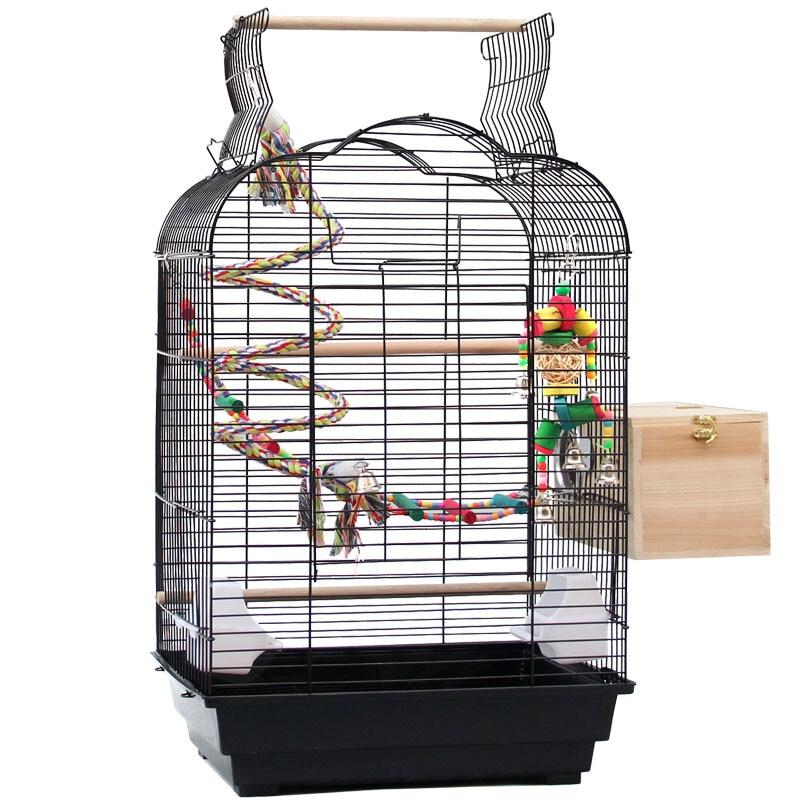 Cage à oiseaux décorative Style Cage à oiseaux perroquet jouet échelle nid d'oiseau fer Art robuste Durable grand espace Cage à oiseaux de taille moyenne