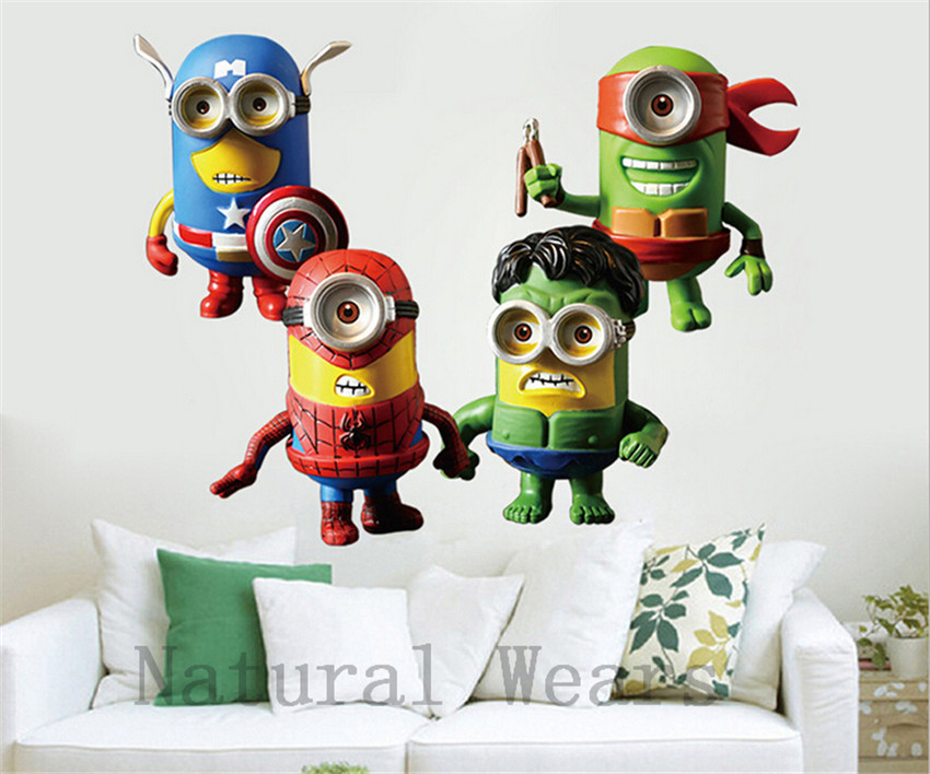 1Pcs Minion Wall Sticker Marvel The Avengers Hero Minions Fashion Comics Cartoon  Despicable Me Wallpaper Home Bedroom Decoration In Wall Stickers From Home  ...