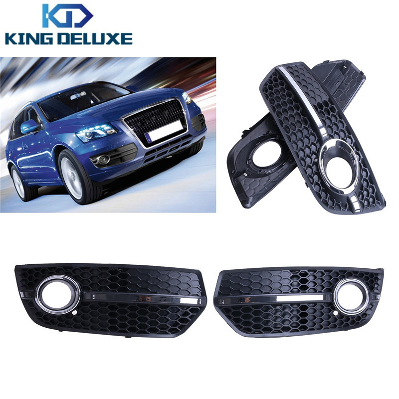 2PCS Chrome Front Lower Bumper Grill S-Line Sline Fog Light Lamp Lano Grille Cover For AUDI Q5 S Line 2009 2010 2011 #P297 abs chrome front grille around trim for ford s max smax 2007 2010 2011 2012
