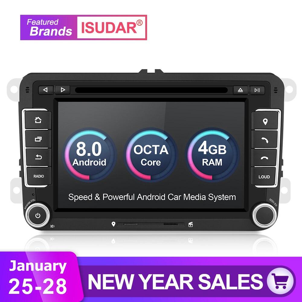 Isudar Voiture Multimédia lecteur 2 Din Autoradio GPS Android 8.0 Autoradio Pour VW/Volkswagen/POLO/Golf /Skoda/Octavia/Siège/Leon DSP