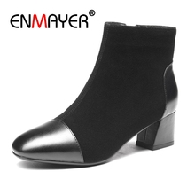ENMAYER Genuine Leather Thick High Heels Ankle Boots Female Square Toe Slip On Shoes Women Winter Snow Botas Size 33-40 CR610 цена 2017