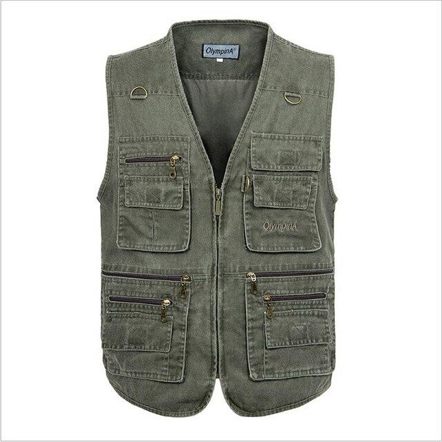 2016 Men Summer Fashion Vest Male Canvas Vest With Many Pockets Casual Sleevelss Men'S Vests Colete Masculino Mv91061
