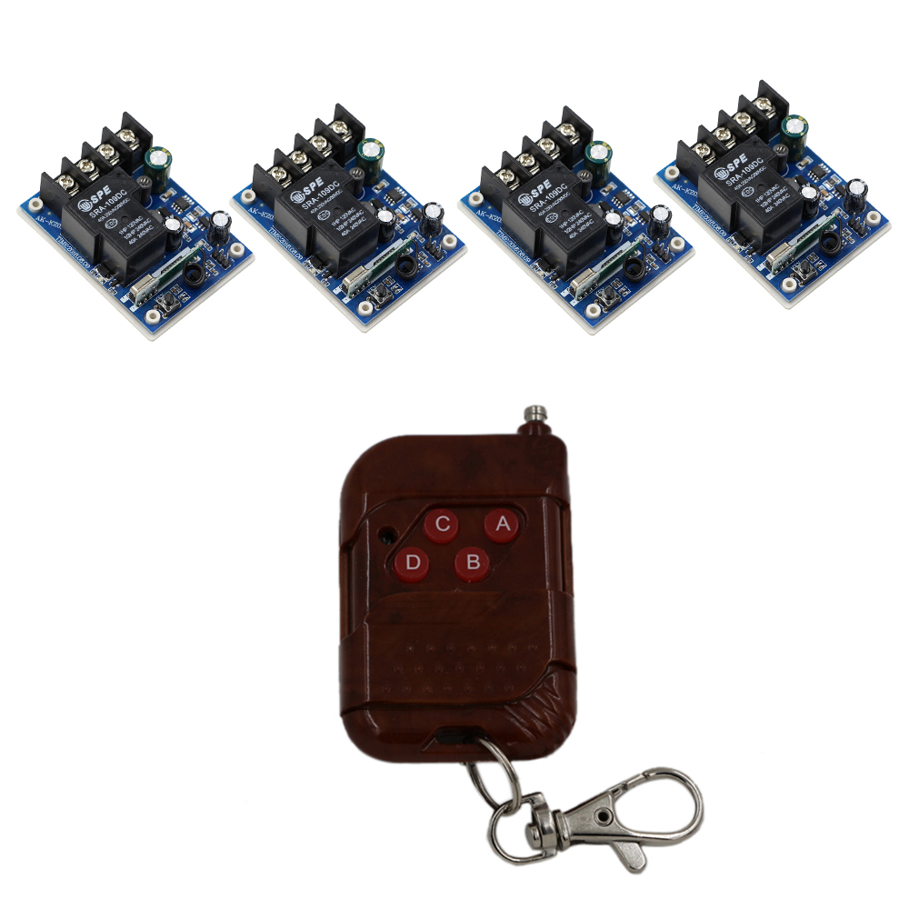Latest DC12V 24V 36V 48V 30A 1CH RF Remote Control Switch System 1X Transmitter Peach + 4 X Receivers 1CH Relay Smart Home dc12v 24v 36v 48v 30a 1ch wireless remote control switch 3 transmitter with 2keys