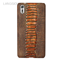 LANGSIDI Brand Phone Case Ostrich Foot Grain Half Wrapped Phone Case For Sony Xperia XZs Phone