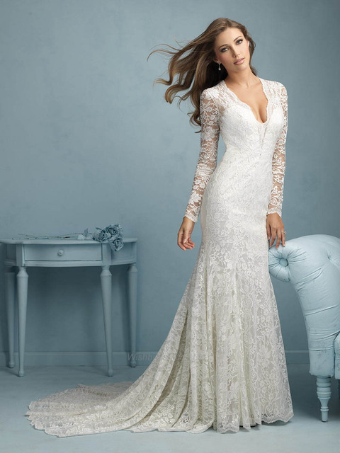 Cheap Lace Fit And Flare Wedding Dress Under 300 V Neck With Sleeves