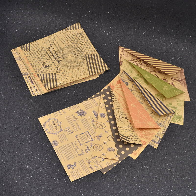 Vintage 6 Designs 60 Sheets Double Sided Origami Paper DIY Folded Kraft Paper Craft Scrapbooking Decor  Стёганое полотно