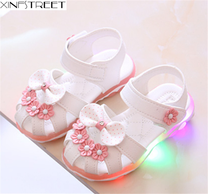 HTB146LcebSYBuNjSspfq6AZCpXa9 - Xinfstreet Baby Toddler Girls Summer Shoes Children Sandals With Light Up Breathable Soft Bow Kids Girls Sandals Size 21-30