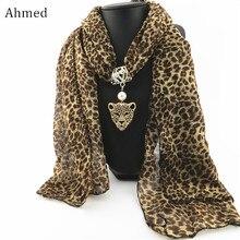 Ahmed осень и зима мода стразы подвеска в форме головы леопарда шарф ожерелье для женщин шейный платок шарфы ювелирные изделия