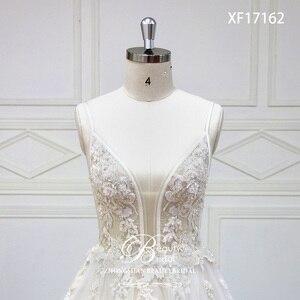 Image 4 - Robe De mariée à col en v, Train Court, avec appliques en dentelle, à perles De cristal, robe De mariée, XF17162