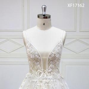 Image 4 - 웨딩 드레스 v 목 법원 기차 레이스 Applique 크리스탈 구슬 신부 드레스 가운 Vestidos 드 Novia XF17162