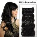 Brasileiro do cabelo virgem clipe onda do corpo na extensão do cabelo humano pode ser tingido cor natural 12-26 polegada 8 pcs cabelo onda do corpo extensão