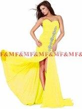 Reale Abbildungen Sexy Elegante Neue Mode 2016 Schatz-nixe Crystals High Side Slit Royal Blue Bodenlangen Abendkleid