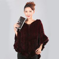 Winter Women's Coats Genuine Natural Mink Fur Cape Cloak Hoodie Poncho Real Knitted Mink Fur Shawl Female Women Pullover Genuine