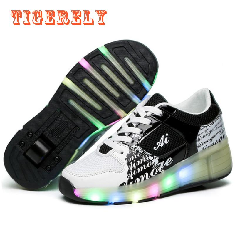 Children Glowing Sneakers Kids Roller Skate Shoes with Wheels Led Light up Glowing Shoes for Boy Girls zapatillas hombre children roller sneaker with one wheel led lighted flashing roller skates kids boy girl shoes zapatillas con ruedas