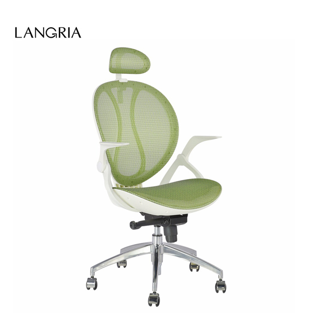LANGRIA High-Back Swivel Green Mesh Executive Office Chair Computer Chair with 3-Position Locking Adjustable Headrest  Armrest