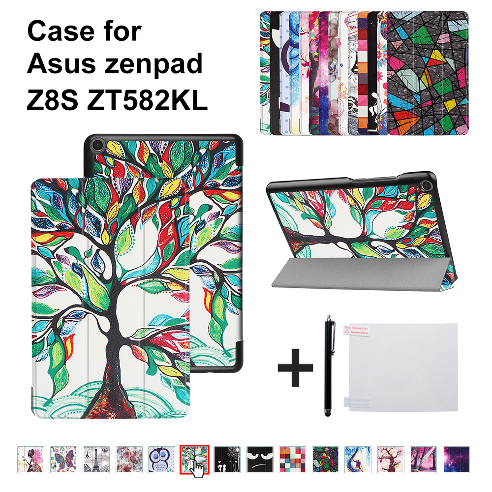 Smart Cover For 2017 New Asus Zenpad Z8S ZT582 ZT582KL 8 8.0 tablet Flip Case Cover for Asus Zenpad Z8S KST+free gift чехол asus для планшетов zenpad 8 pad 14 полиуретан поликарбонат белый 90xb015p bsl320