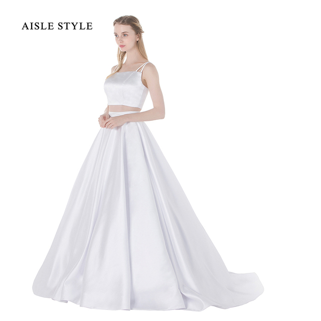 Modern 2 Piece Wedding Dresses Long A Line Satin Crop Top Simple Gown With