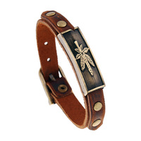 ER Classic Male Leaf Bracelet Men Retro Genuine Real Leather Bracelets Bangles Women Hand Cuffs Jewelry LB214