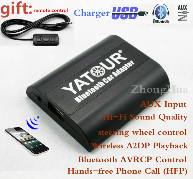 Yatour Bluetooth Hands-free Phone Call Car Adapter YT-BTA for Alpine AI-NET AUX Input Wireless Playback Free shipping 02 champagne