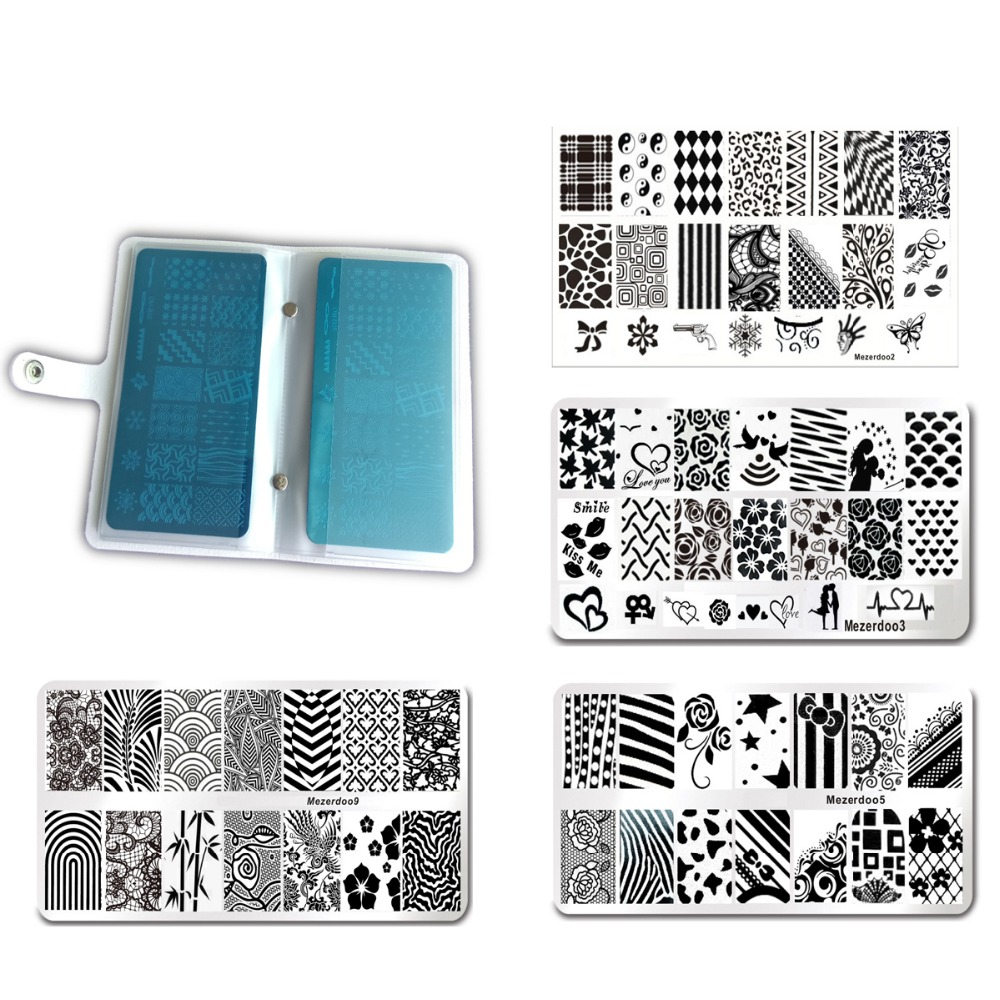 Nail art Stamping Plate Holder Case 12Pcs/Set 11 Steel Nail Art Stamp Template+1Pcs 20Slots Large Rectangular for 6*12 cm Plates vibration of orthotropic rectangular plate