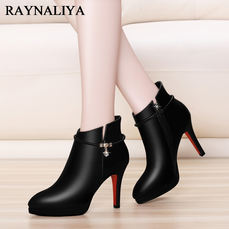New Sexy Black High Heels Cow Leather Shoes Women Boots Female Pointed Toe Zip Boot Women Shoes Ankle Boot Size 34-39 YG-A0033 full grain genuine cow leather knee high boots shoes for woman black point toe anti slip pointed toe female women s boot pr1354
