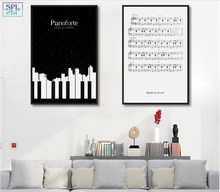 SPLSPL Abstract Black and White Piano Music Canvas Print Painting Poster Wall Art Pictures For Living Room Decoration(China)