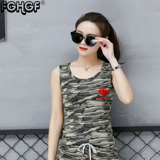 e83c99668bc8ca 2018 t shirt women summer Plus size top Tank Tops camouflage t shirt women  Cotton Military V-Neck 2 Color to choose 1894
