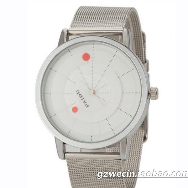 Brand Unique Arc Pointer Black White Quartz Stainless Mesh Band Wrist Watch Mens Boy Turntable Dial Digital Gift Wristwatches