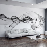 Custom Photo Wallpaper Modern 3D Wall Mural Wallpaper Black White Smoke Fog Art Design Bedroom Office