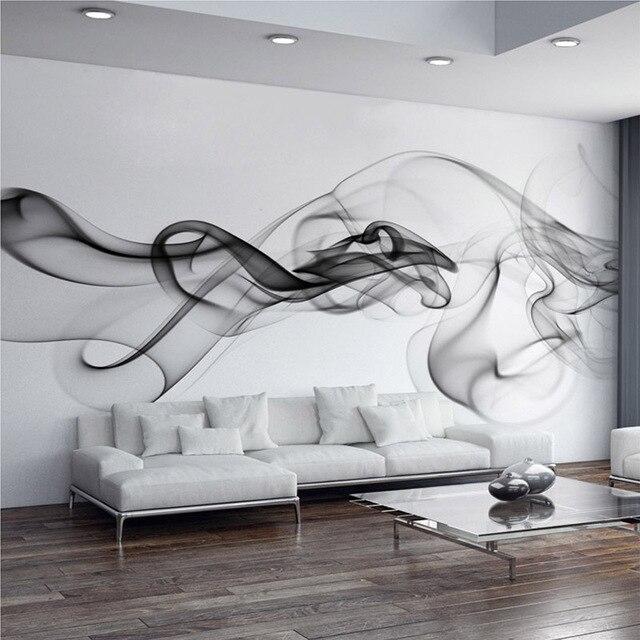 Moderne tapete schwarz  Custom Foto Tapete Moderne 3D Wandbild Tapete Schwarz Weiß Rauch ...