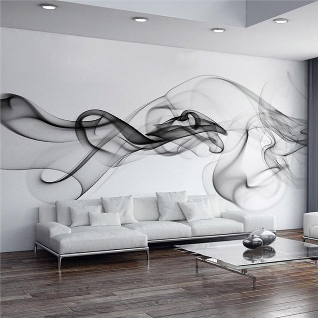Custom photo wallpaper modern 3d wall mural wallpaper black white smoke fog art design bedroom office