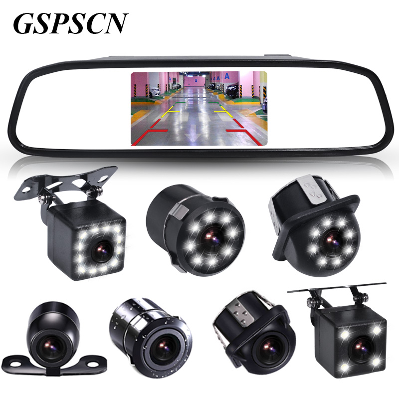 GSPSCN Universal 4.3 Inch HD Color TFT LCD Parking Rear View Mirror Monitor With Backup Reverse Camera Waterproof Night Vision