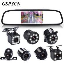 Gspscn Универсальный 4.3 дюймов HD Цвет TFT ЖК-дисплей парковка зеркало заднего вида Мониторы с резервного копирования Обратный Камера Водонепроницаемый Ночное видение