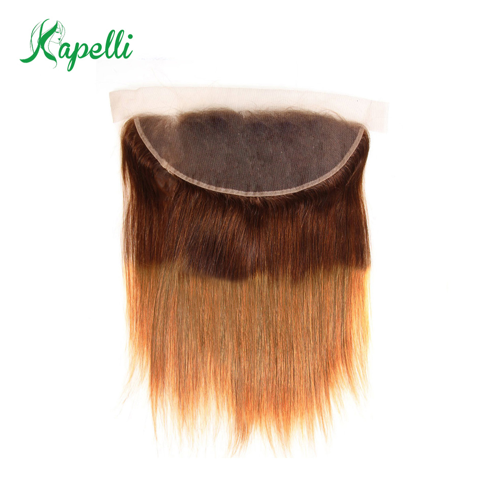 Ear to Ear Lace Frontal Closure 13X4 Free Part With Baby Hair Ombre Natural Pre Plucked Brazilian Straight Human Hair Non-Remy