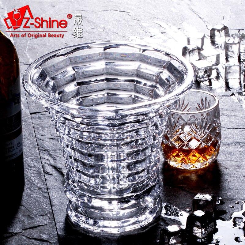 Seau d'isolation en verre sans plomb barre à vin oblique boissons à la bière seau à champagne avec taille de seau à glace