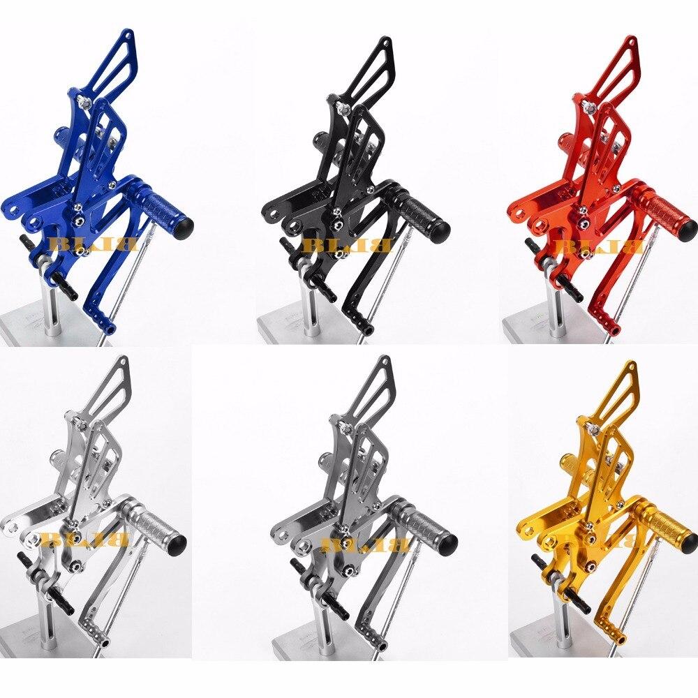 8 цветов ЧПУ Rearsets для Kawasaki запросу zx6r 2005 - 2008 задний комплект мотоцикл Регулируемая ножка колышки Колышками педаль горячие продажи 2007 2006