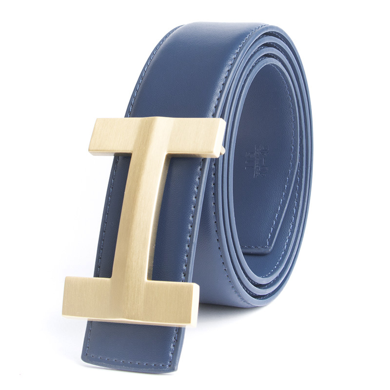 2017 Solid Brass Luxury Blue H Brand Designer Belts Men High Quality Male Business Genuine Real Leather H Buckle Strap for Jeans