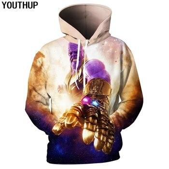 YOUTHUP 2018 Nouveau 3D sweat à capuche pour homme Imprimé Thanos Sweats Capuches Hommes hauts Mode pullover décontracté Cool Streetwear grande taille