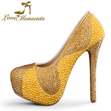 Love Moments high heels Wedding Shoes bride crystals diamond gold shoes woman valentine shoes designer shoes women luxury 2017