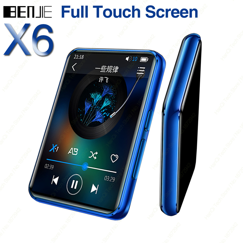 Benjie X6 Full Touch Screen MP3 Player 4GB 8GB Music Player With Built-in Speaker FM Radio Video Player E-book Support TF Card