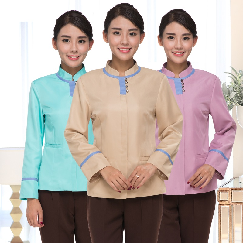 (10 Set-Coat&Pant)Work Wear Cleaning Service Long-sleeve Waitress Uniforms Clean Coat Trousers Guest Room Overalls Laundry Wear