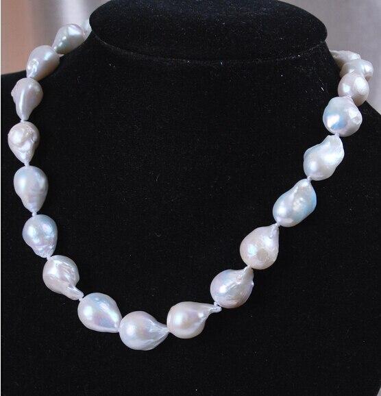 Livraison gratuite @ @ @ 12 - 16 mm réel naturel blanc Akoya perle Baroque collier jewerly 18