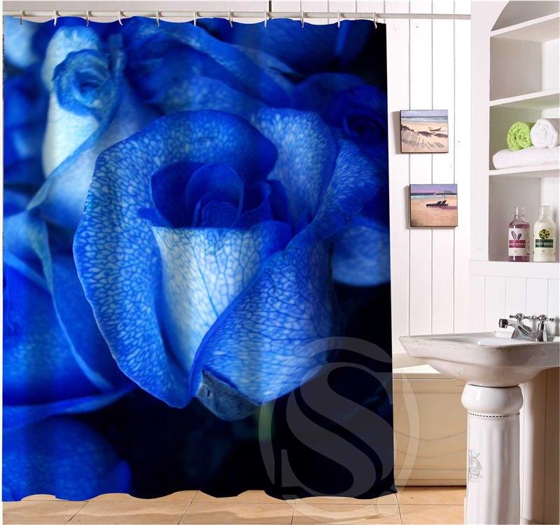 Free Shipping Custom Romantic Blue rose Shower Curtain Bathroom decor waterproof shower curtain SQ0616-Y22