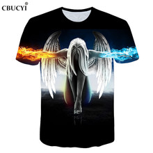 2018 new fashion brand witchcraft T-shirt men and women summer 3d t-shirt printing ice fire angel short-sleeved T-shirt M-5XL