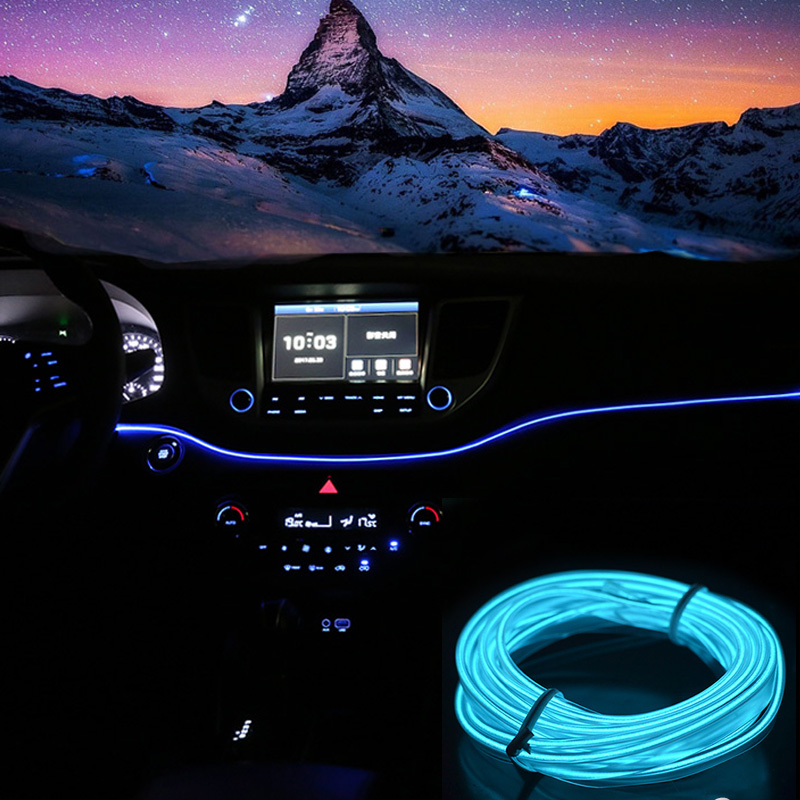 3m 5 coche m de neón EL cable decoración tira de neón LED Flexible Luz de cinta cigarrillo encendedor impermeable Auto iluminación Interior