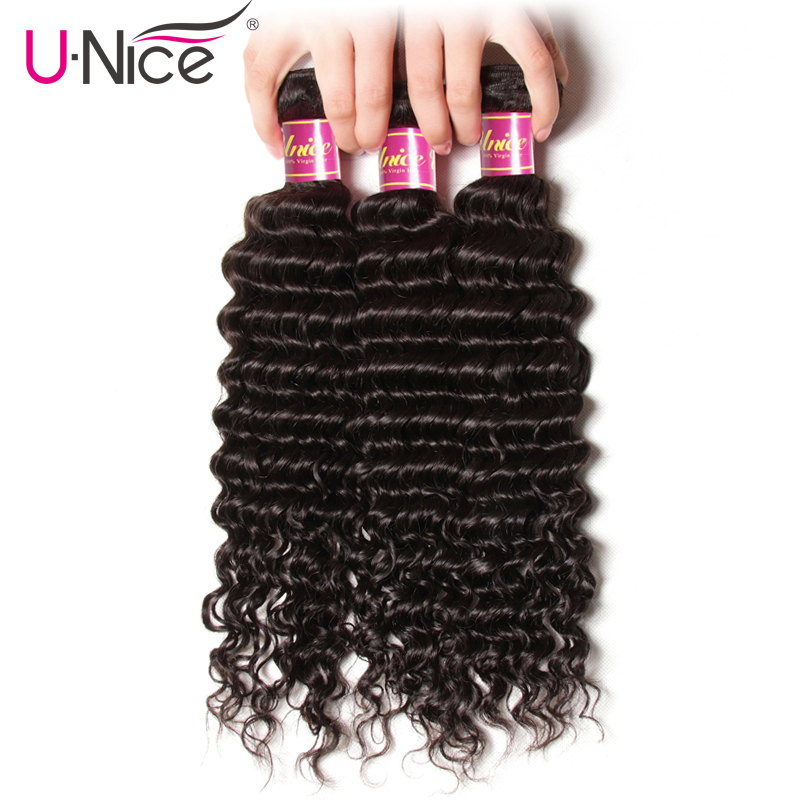 Unice Hair Deep Wave Brazilian Hair Weave Bundles 3 PCS Natural Color 100 Human Hair Weaving